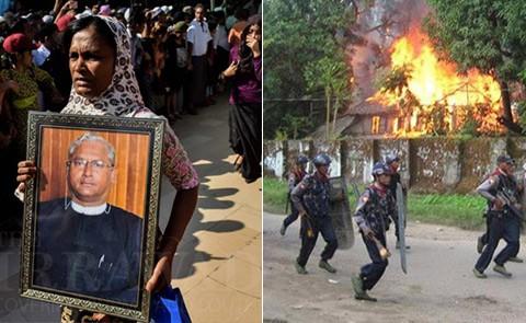 Women carries portrait of slain lawyer U Ko Ni; Soldiers in Rakhine/Arakan State