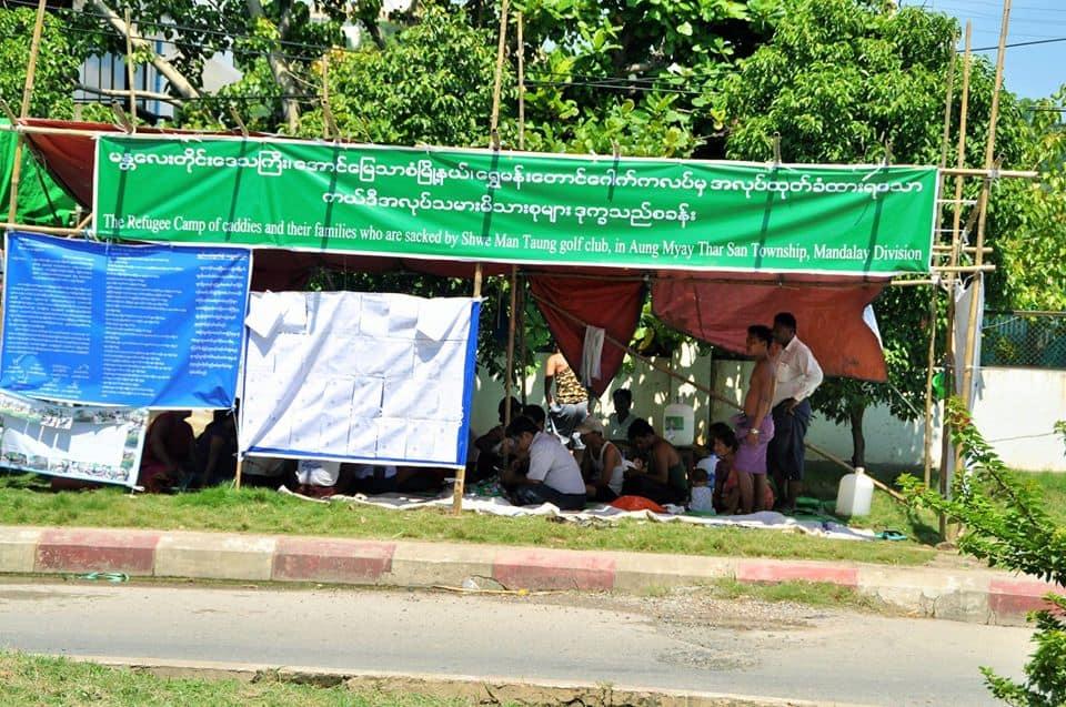 Mandalay golf caddy strike_Golf Caddy Refugee Camp