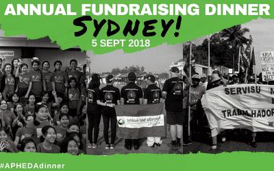 Annual APHEDA Fundraising Dinner – Sydney!